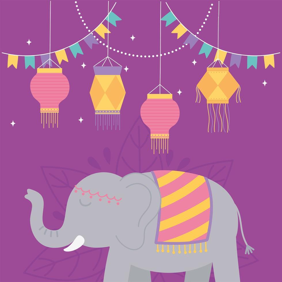 elefante y linternas para la celebración del festival diwali vector