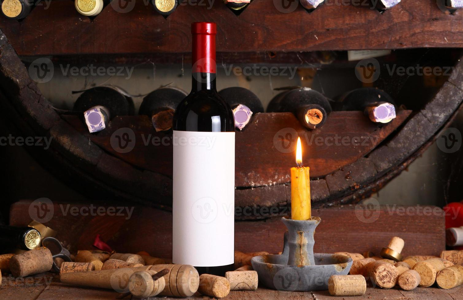 Vintage red wine in cellar photo