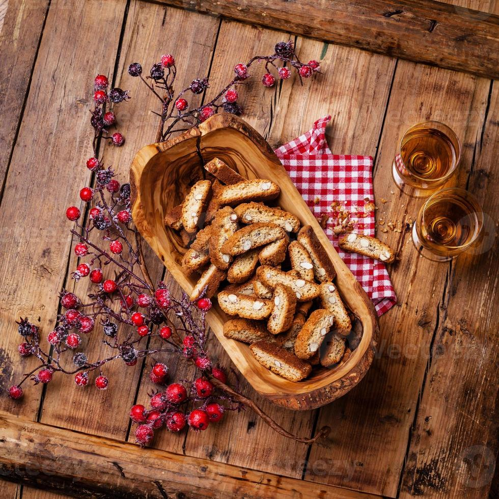 Cantucci in olive wood bowl photo