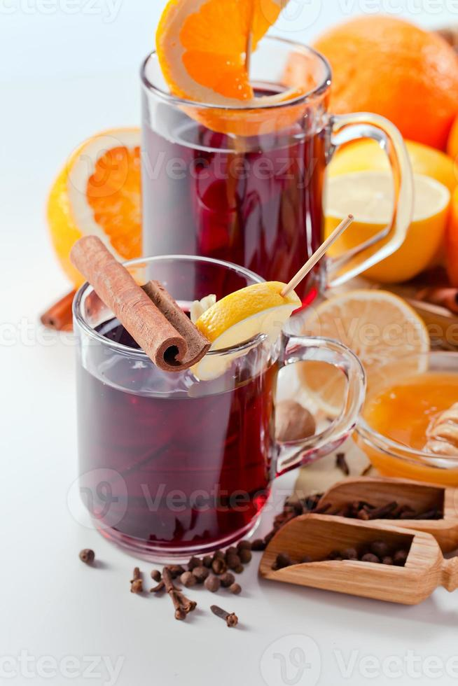 mulled wine with spices photo