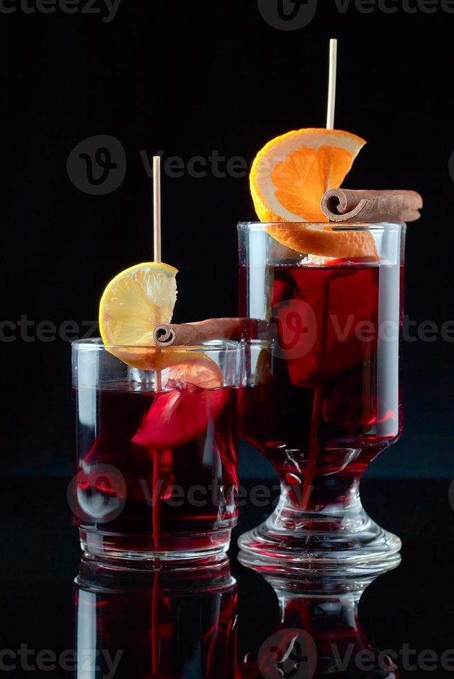 mulled wine  on a black background photo