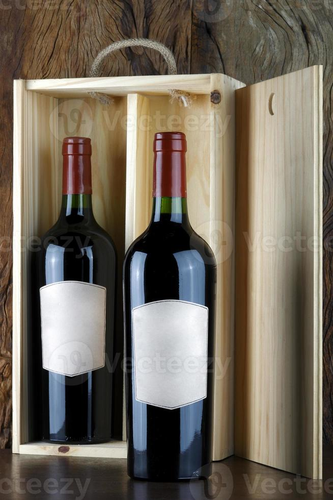 Bottles of red wine. photo