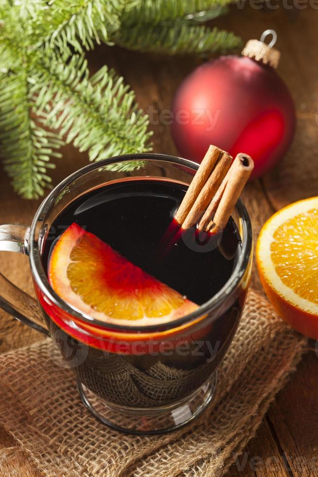 Festive Red Hot Spiced Wine For Christmas photo