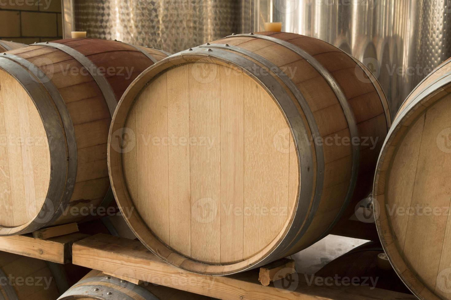 Wooden wine barrel photo