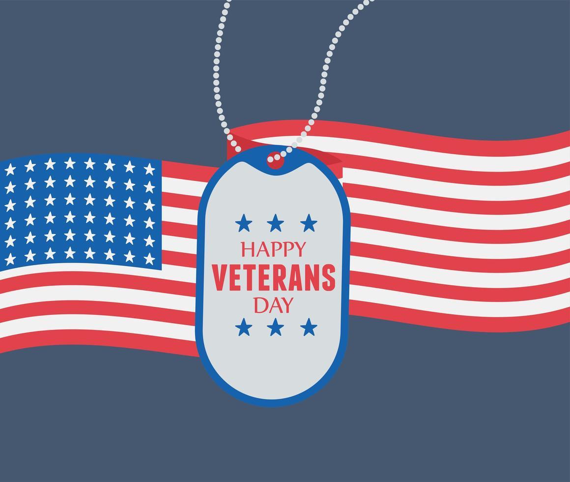 Feliz Día de los Veteranos. token del ejército y bandera de estados unidos vector