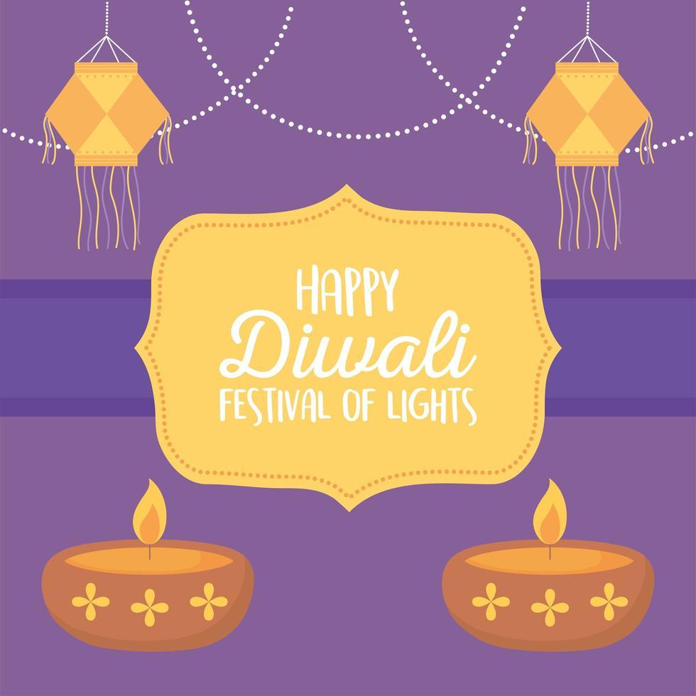 feliz festival de diwali. linternas colgantes y lámparas diya vector
