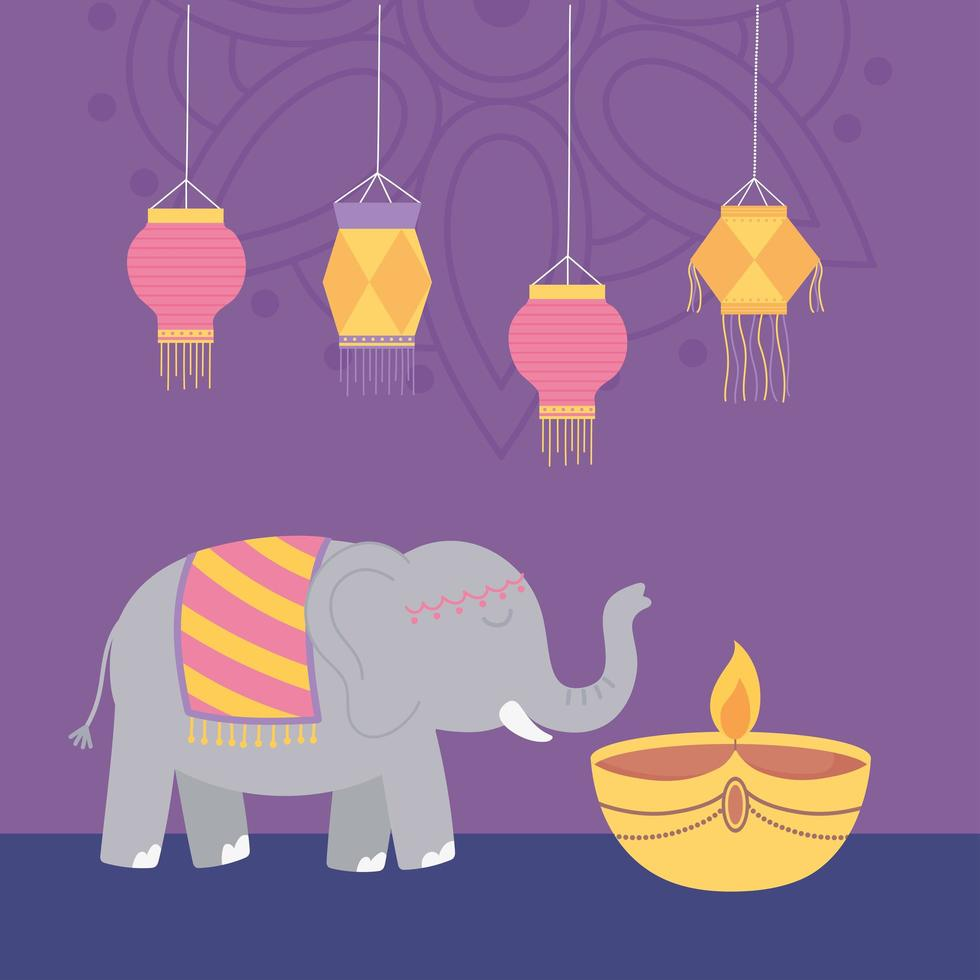 feliz festival de diwali. elefante, lámpara diya y linternas vector