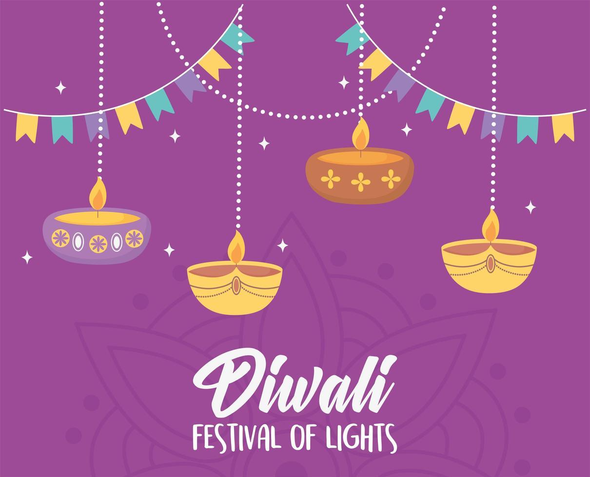 feliz festival de diwali. colgando diya lámparas y velas vector