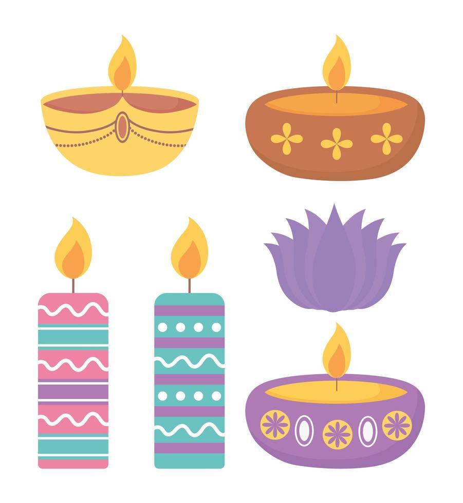 feliz festival de diwali. decoración de velas encendidas de colores vector