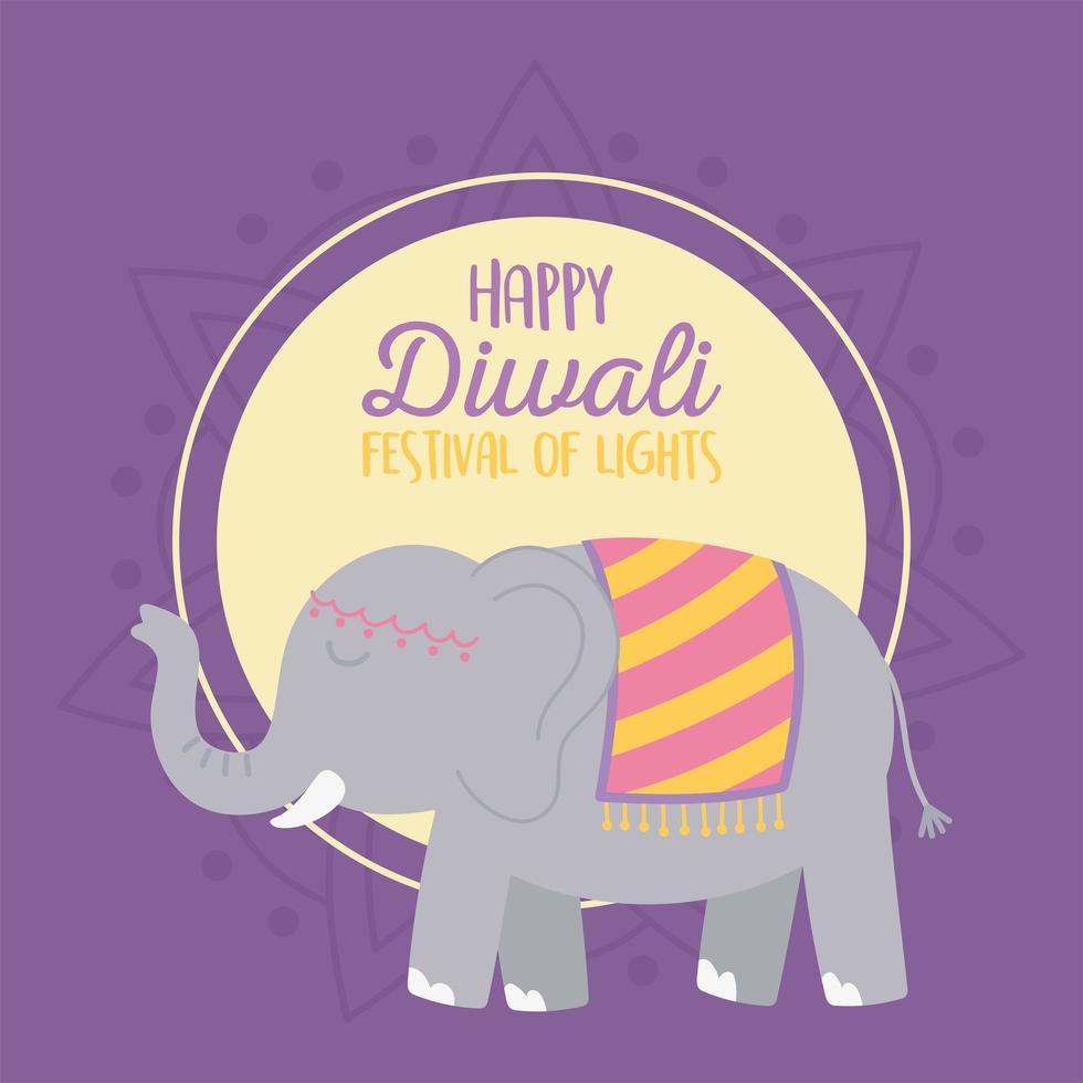 tarjeta de feliz diwali festival con elefante vector
