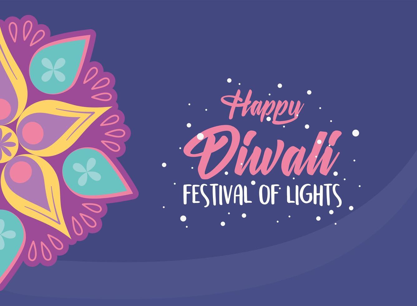 feliz festival de diwali. flor de mandala hindú vector