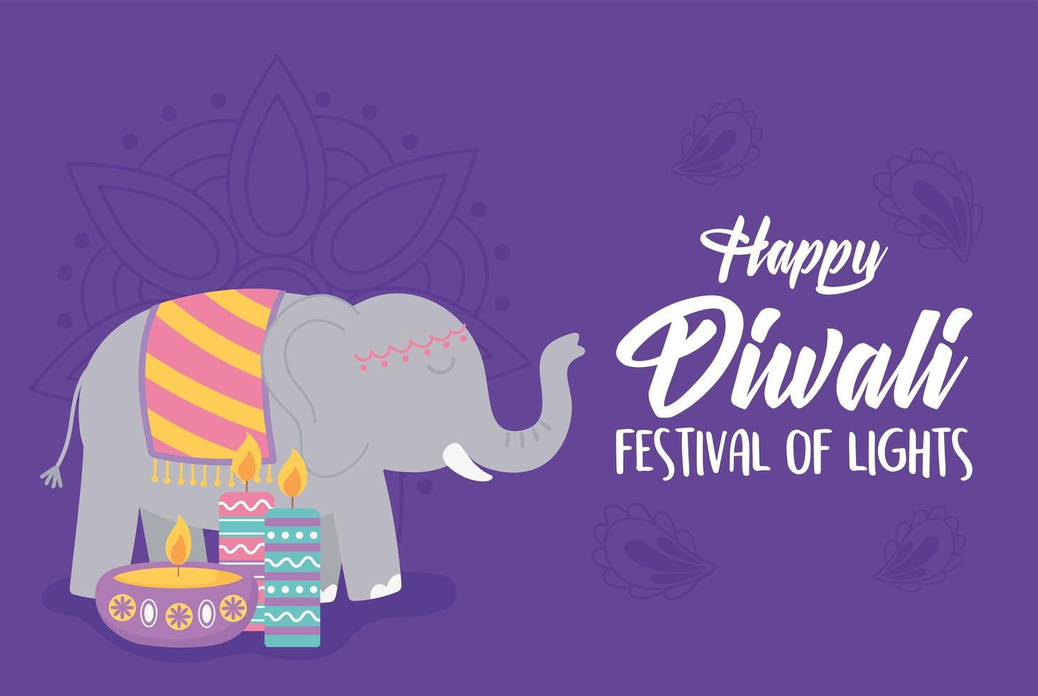 feliz festival de diwali. elefante, lámpara diya y velas vector