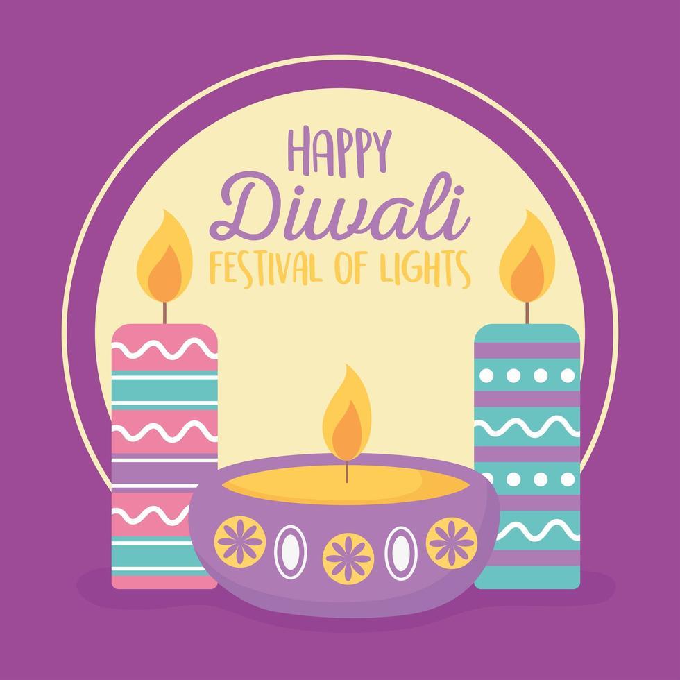 feliz festival de diwali. lámparas diya con velas vector