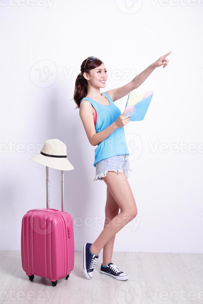 Happy woman tourist photo