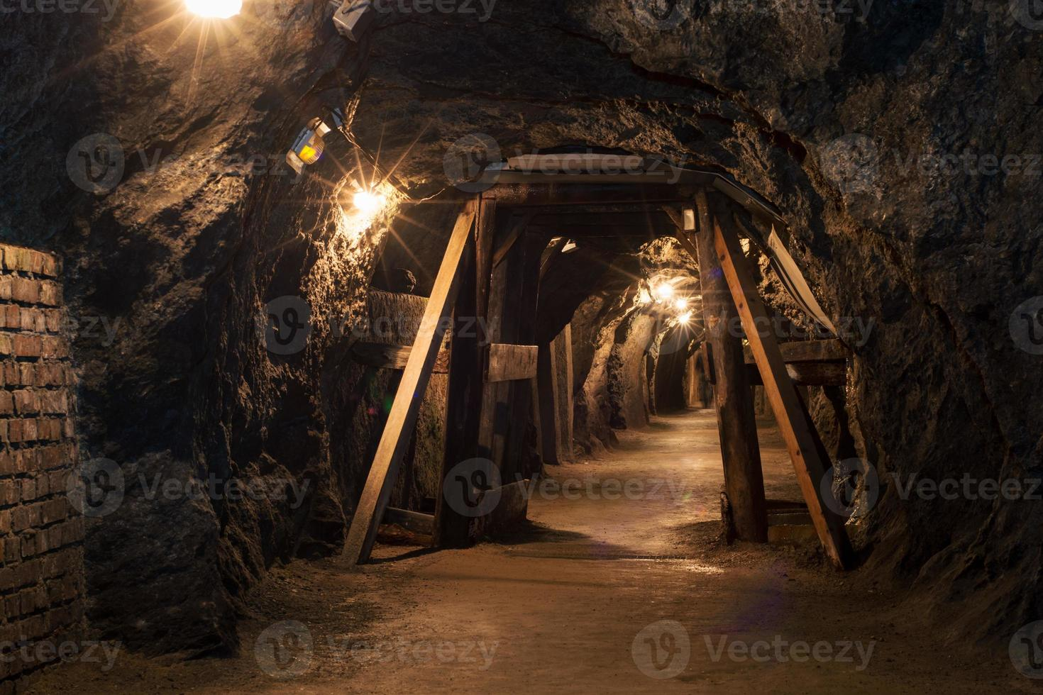 Long tunnel through gypsum mine photo