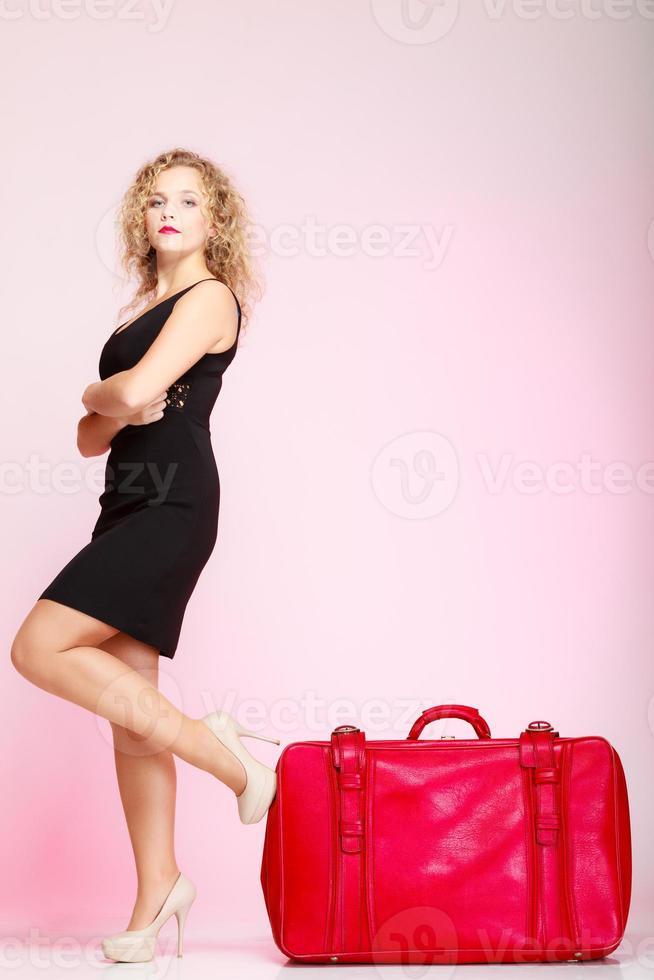 Full length elegant lady in voyage, traveler photo