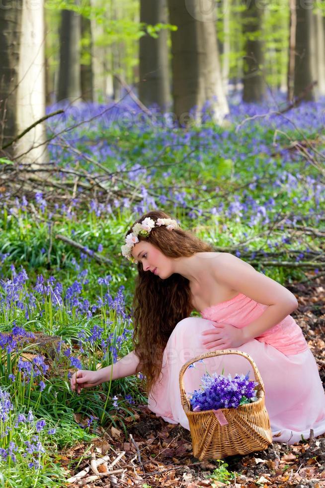 Picking springtime wildflowers photo