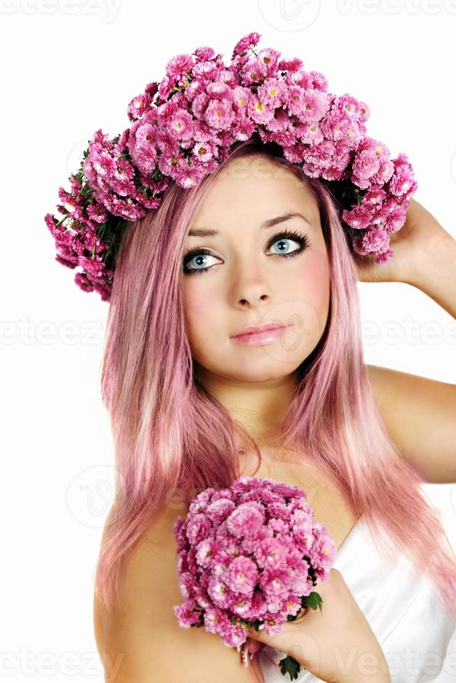 Pink-haired woman photo