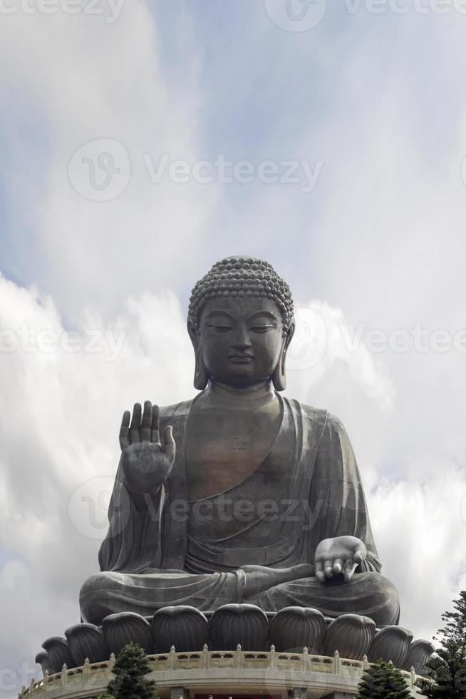 Tian Tan Buddha Sitting on Lotus Throne Closeup photo