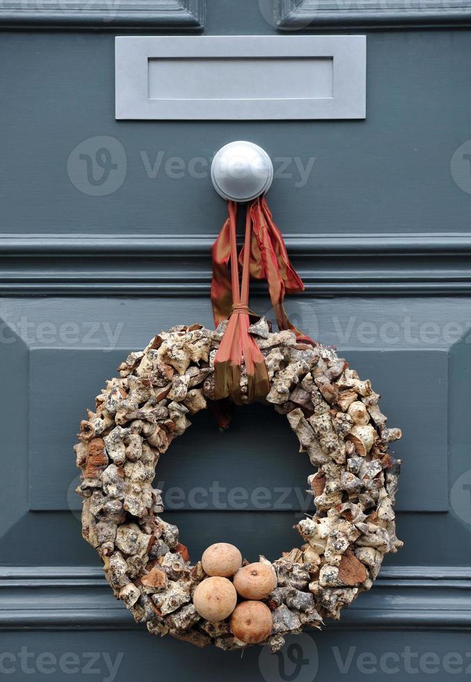 corona de troncos de Navidad foto