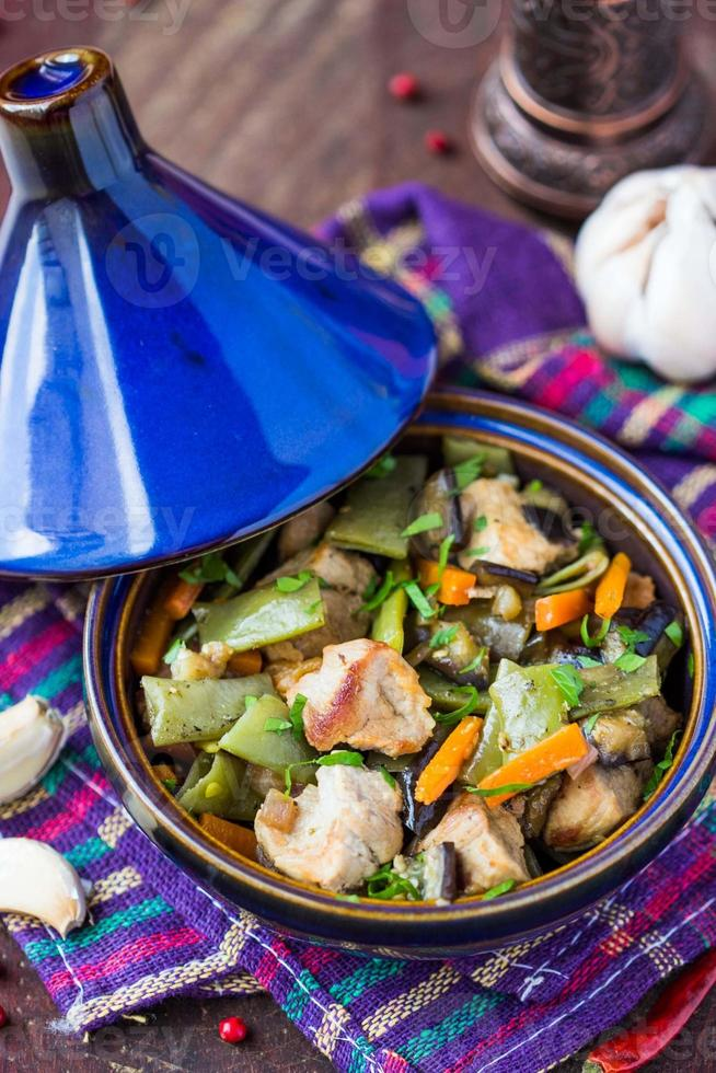 Oriental stew with meat, vegetables, green beans, carrot photo