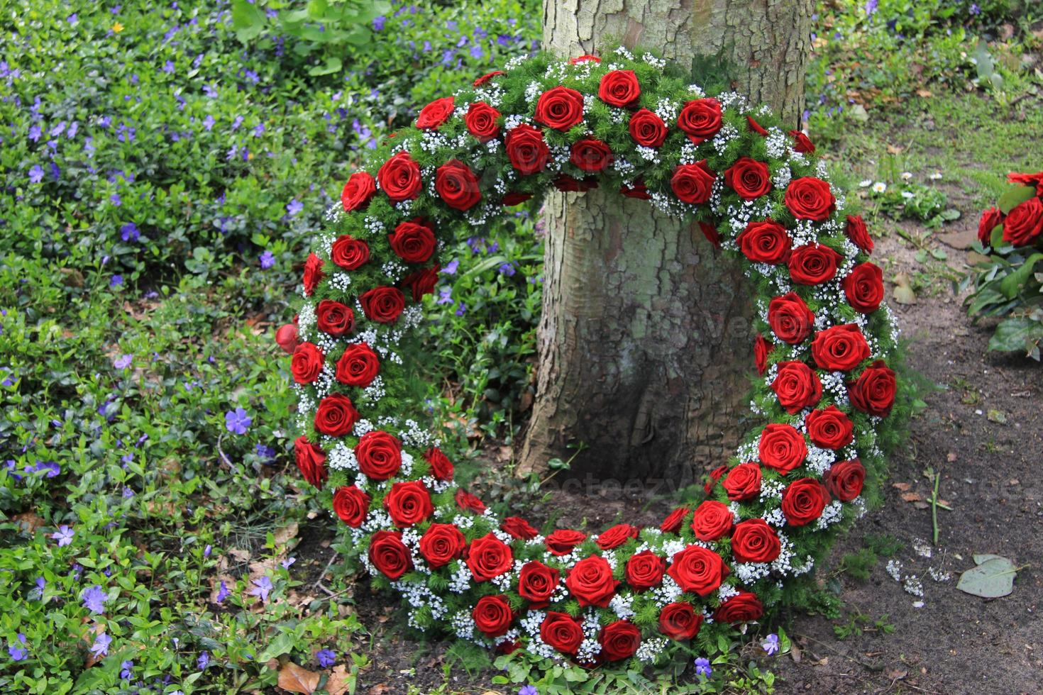 Funeral red rose wreath near a tree photo