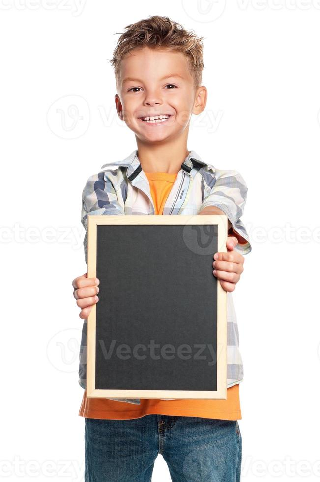 Boy with small blackboard photo
