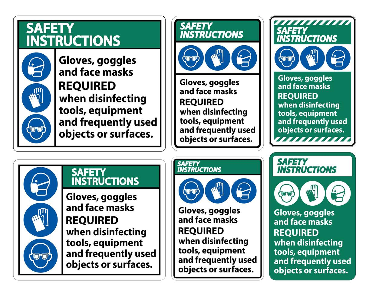 Gloves, Goggles, and Face Masks Required Sign vector