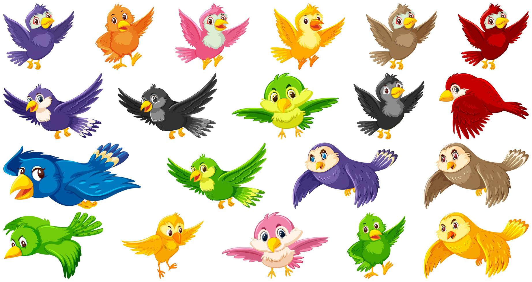 conjunto de personajes de dibujos animados de aves vector