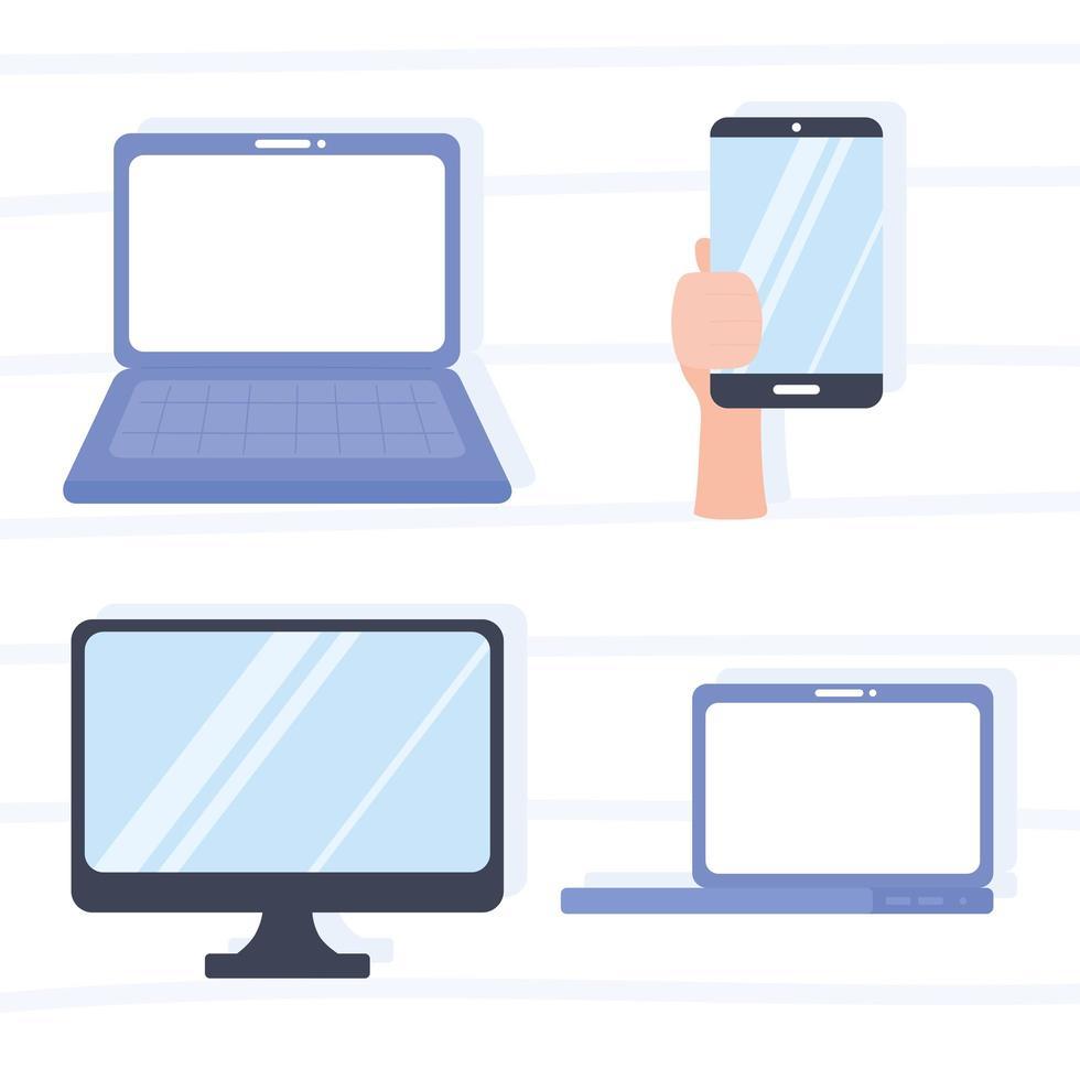 computadora portátil, monitor, mano con dispositivos de teléfono inteligente vector