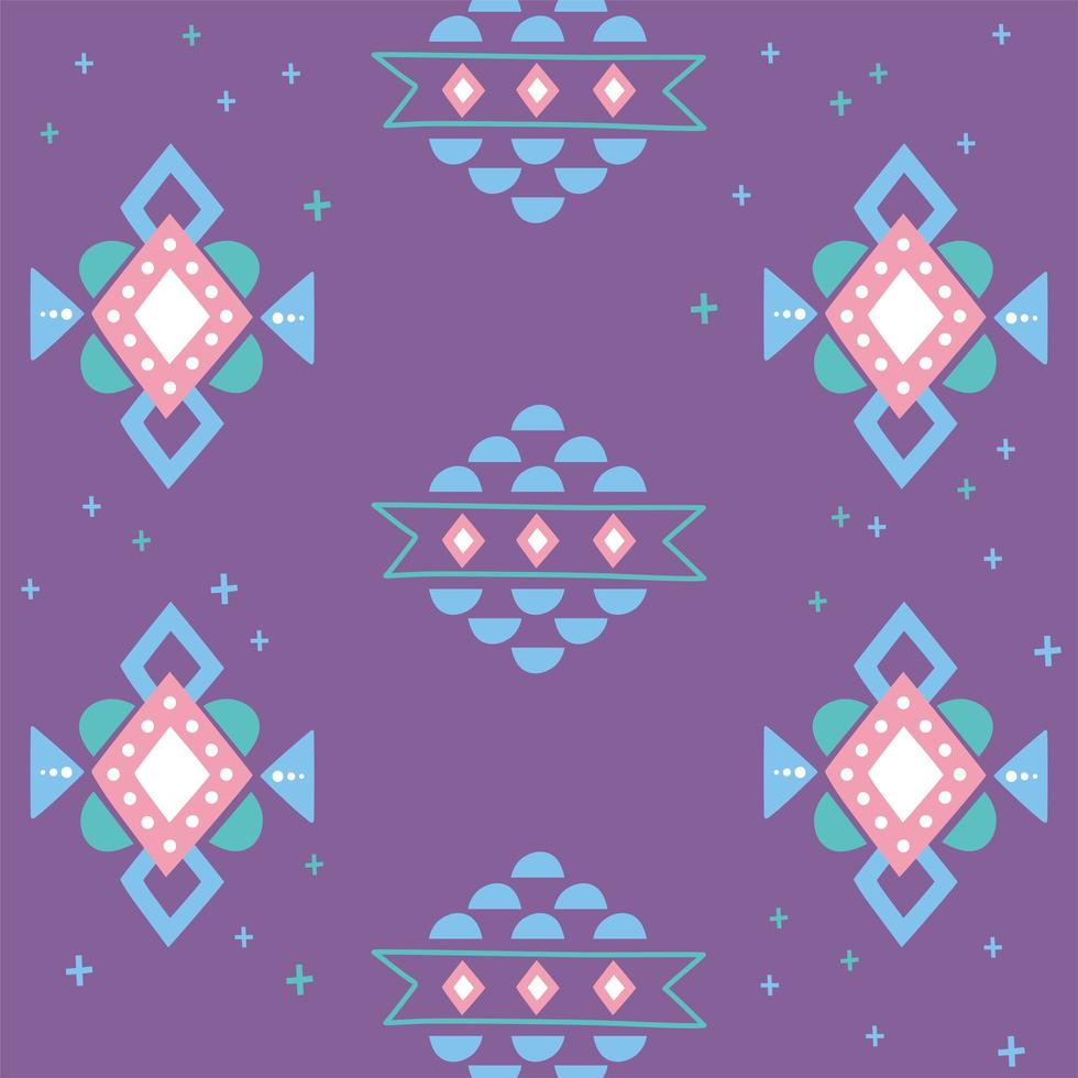 Ethnic handmade. Ornament arabesque purple background vector