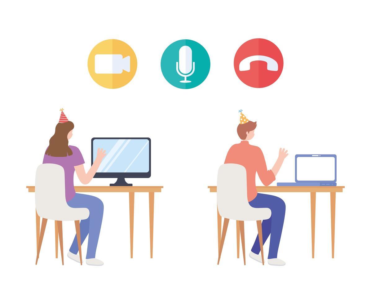 mujer y hombre con gorro de fiesta y computadora vector