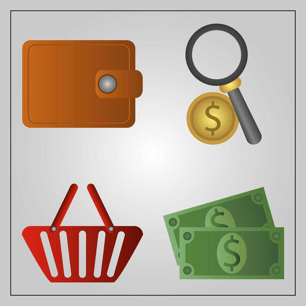 Cyber Monday. Wallet, coin, money, and shopping basket vector