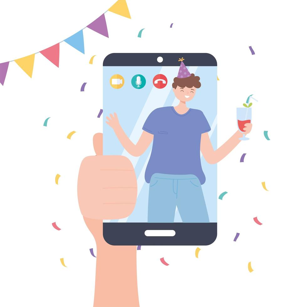 Hand with smartphone video call of boy celebrating vector