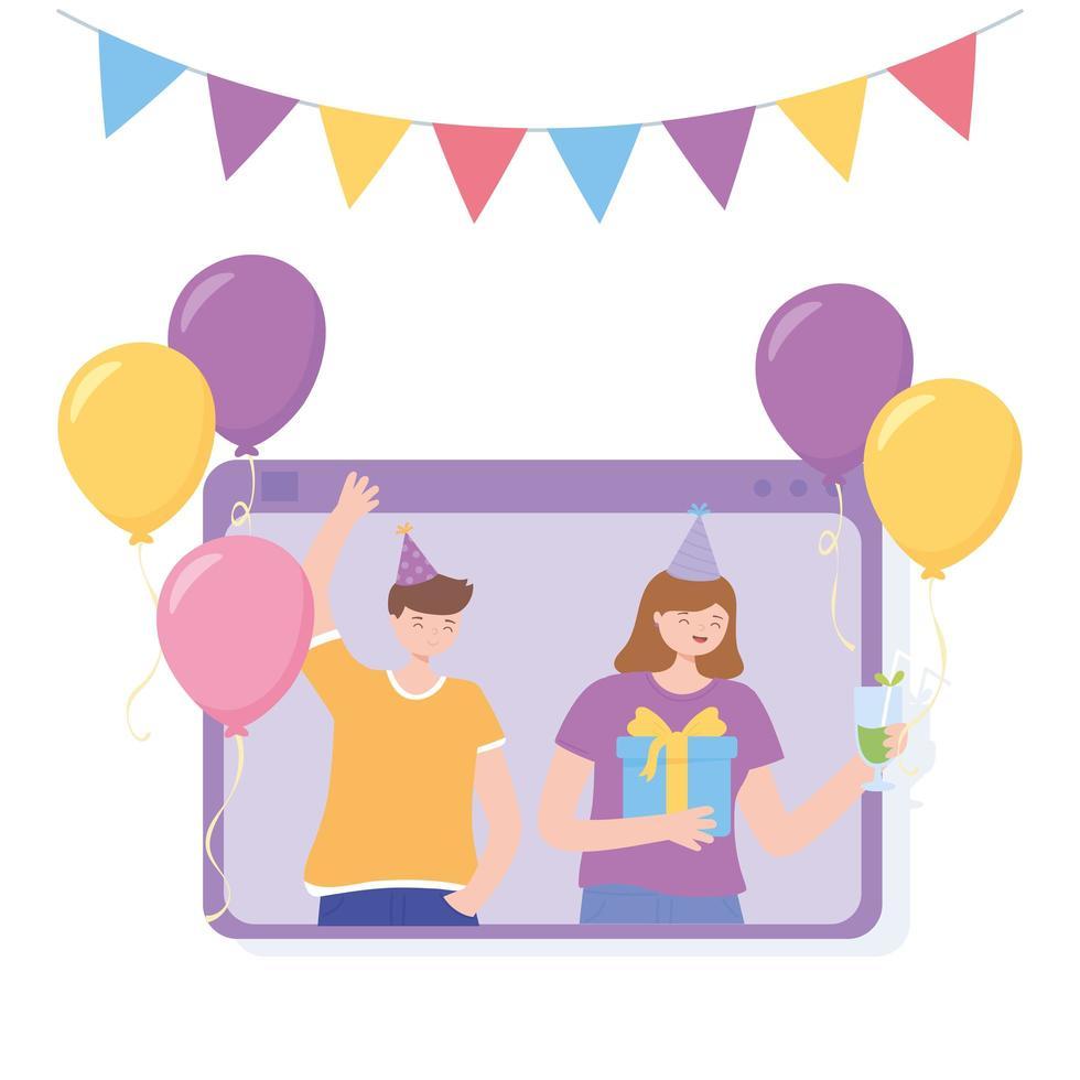 fiesta en línea. videollamada con gente feliz celebrando vector