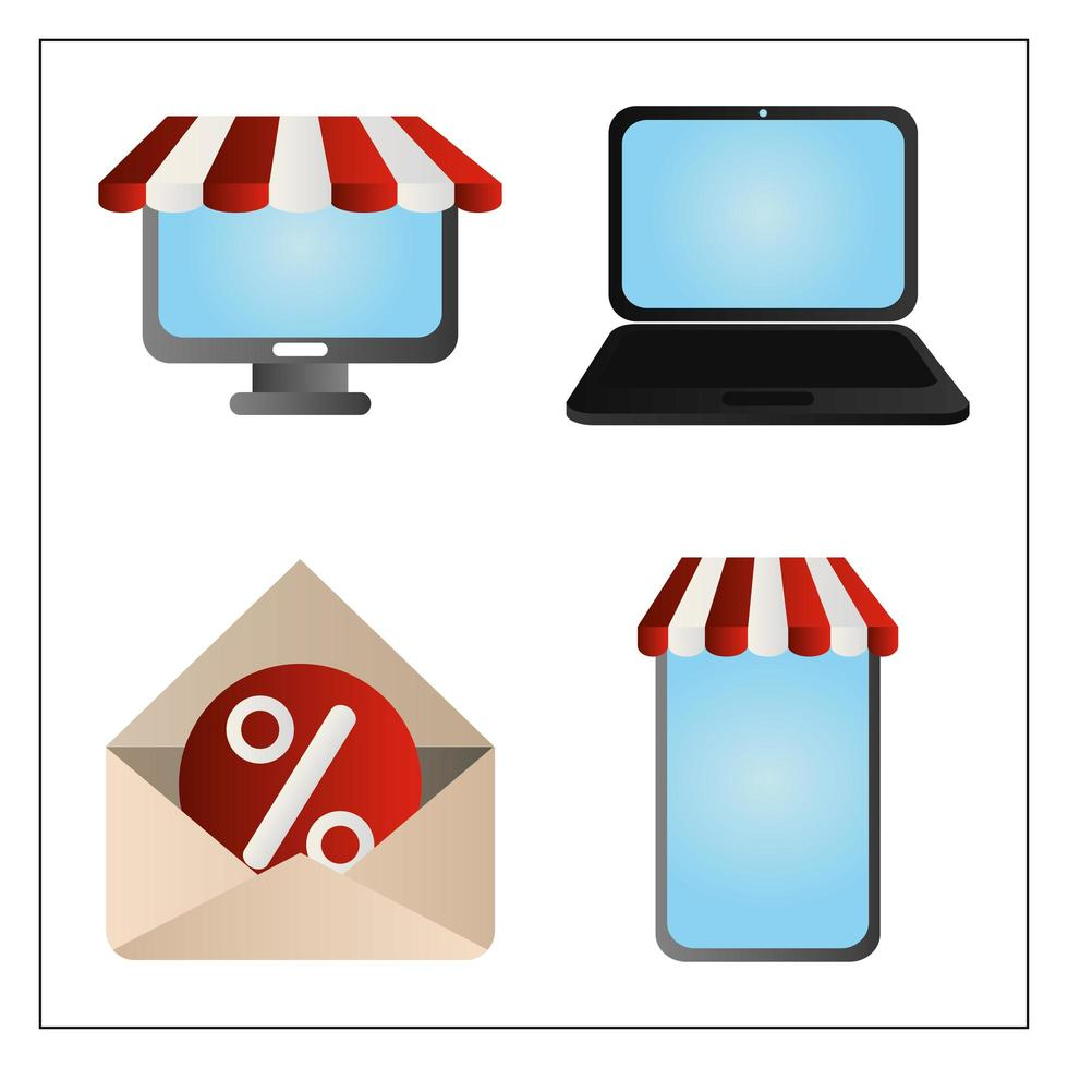 Cyber Monday. Computer, laptop, smartphone, and email  vector