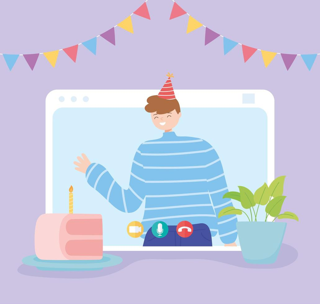 Online party. Happy man in video call celebrating  vector