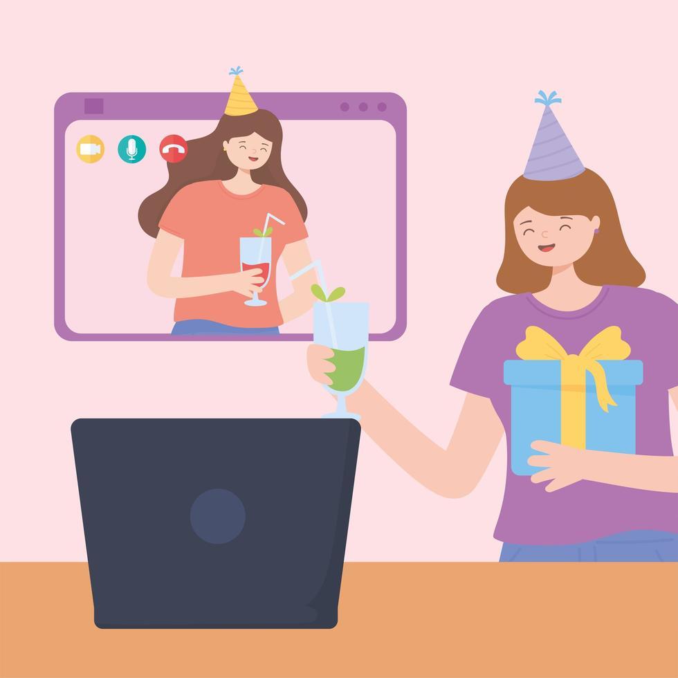 fiesta en línea. mujeres jóvenes, celebrar cumpleaños, con, computador portatil vector