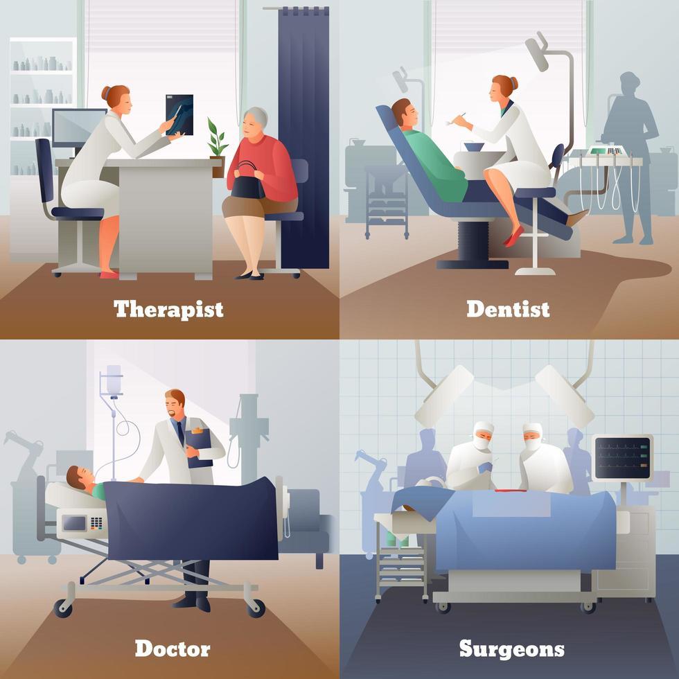 doctor paciente gradiente personas 2x2 vector