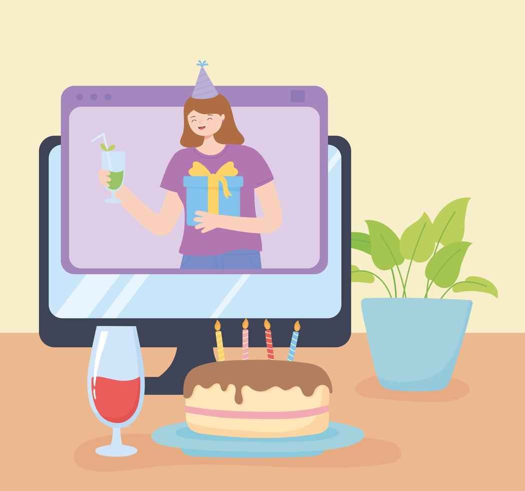 fiesta en línea. celebración de cumpleaños en computadora vector