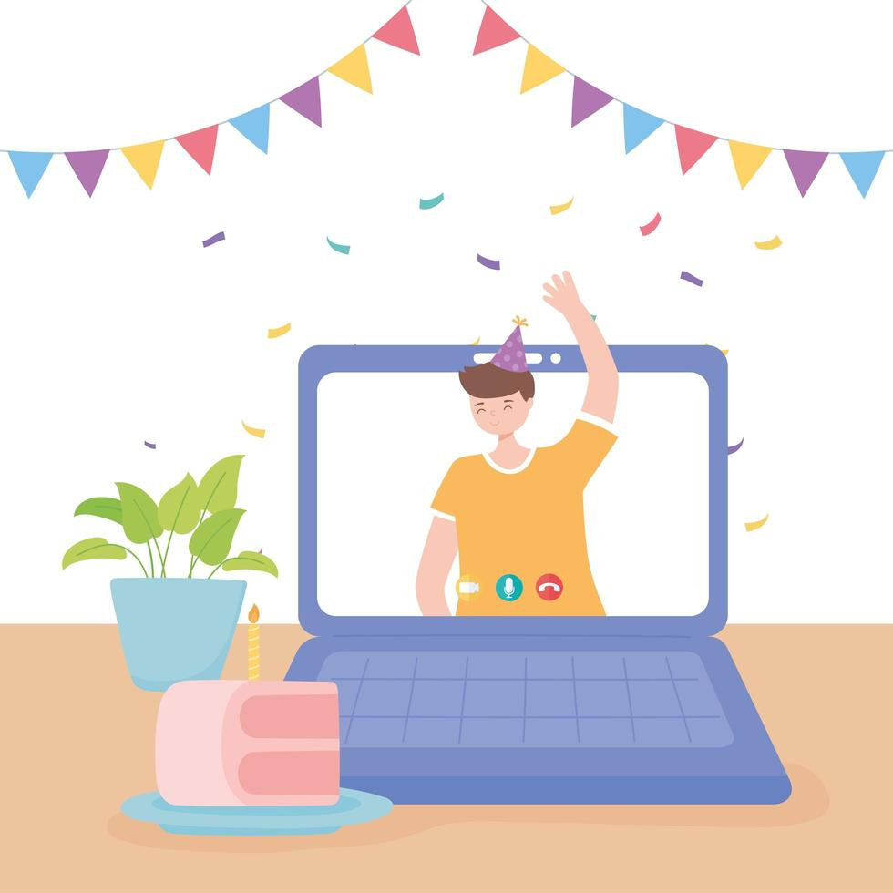 Young man waving hand in video call celebration vector