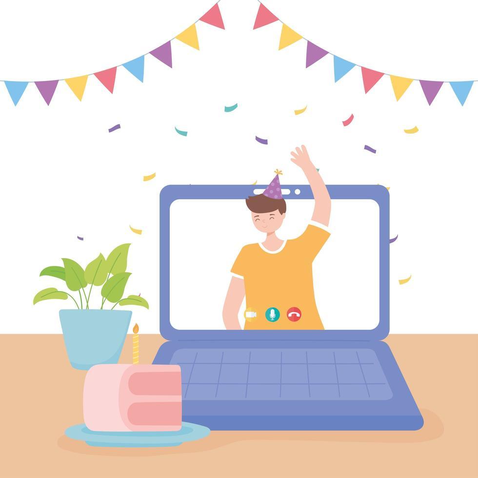 joven agitando la mano en la celebración de la videollamada vector