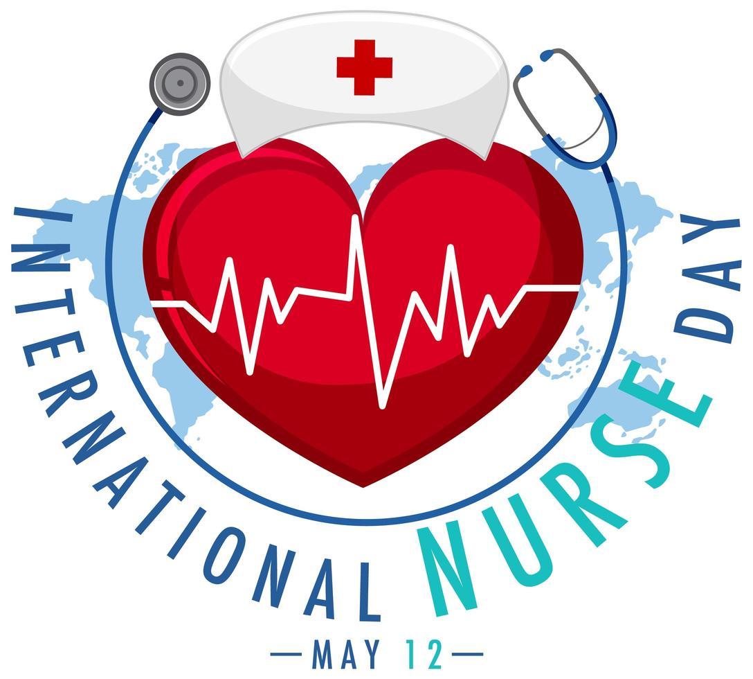 logotipo del día internacional de la enfermera con gorra de enfermera y corazón grande vector