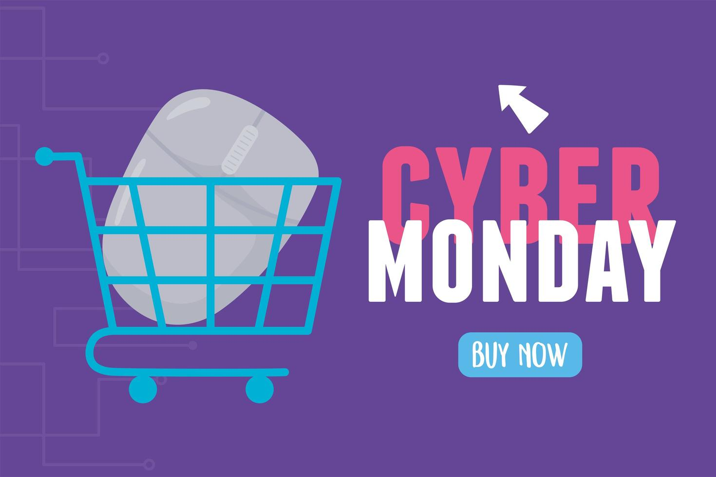 Cyber Monday. Mouse inside shopping cart vector