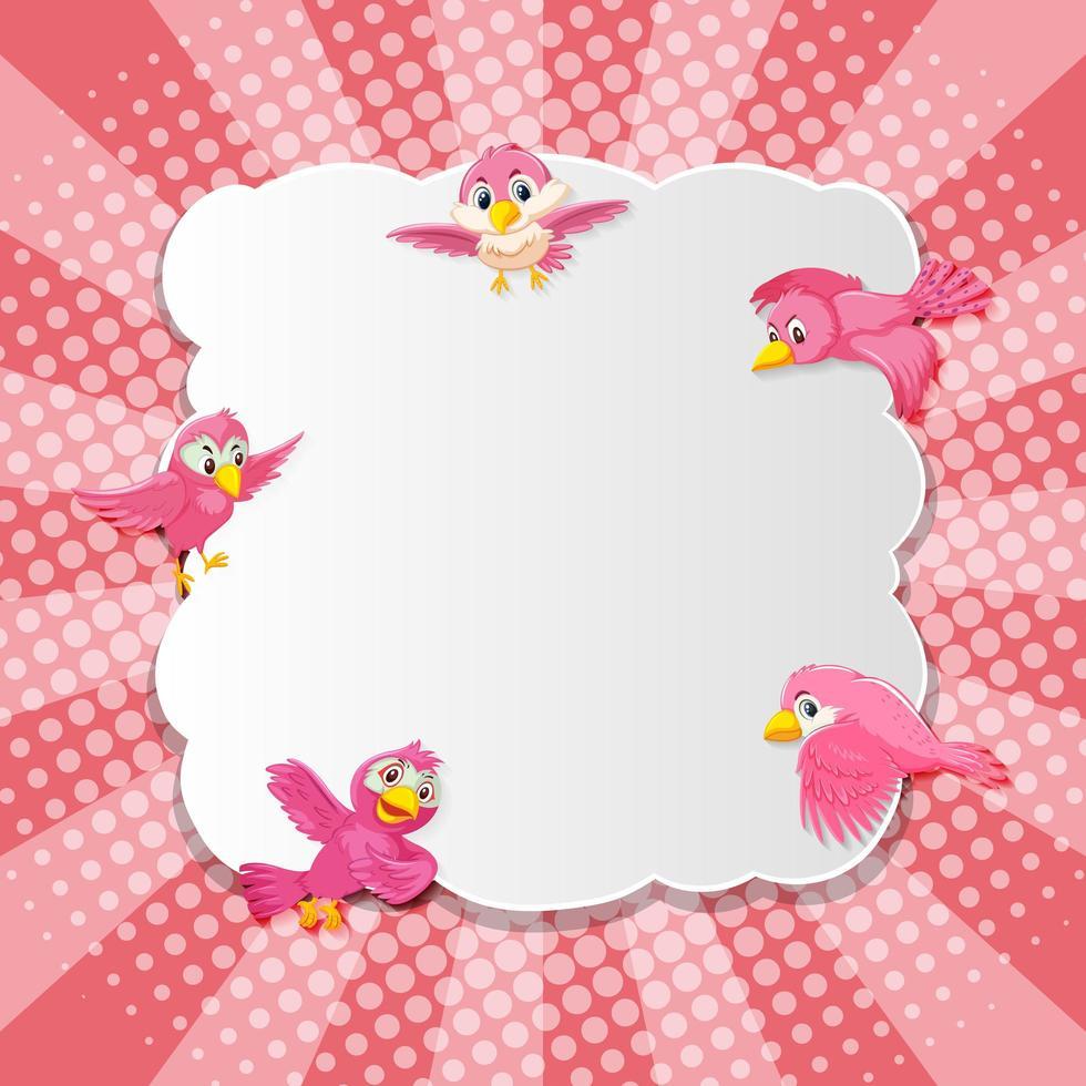Bird Fancy Pink Banner Comic Cartoon Style vector