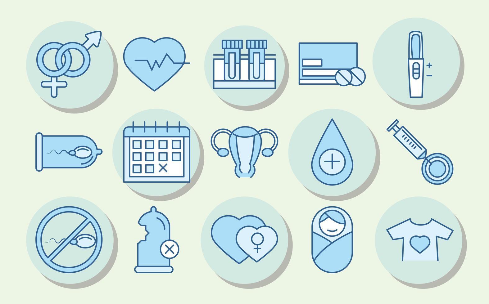 salud sexual. iconos de conciencia de prevención médica vector