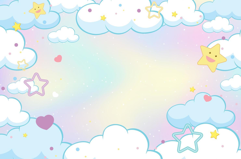 fondo de cielo pastel nube mágica vector