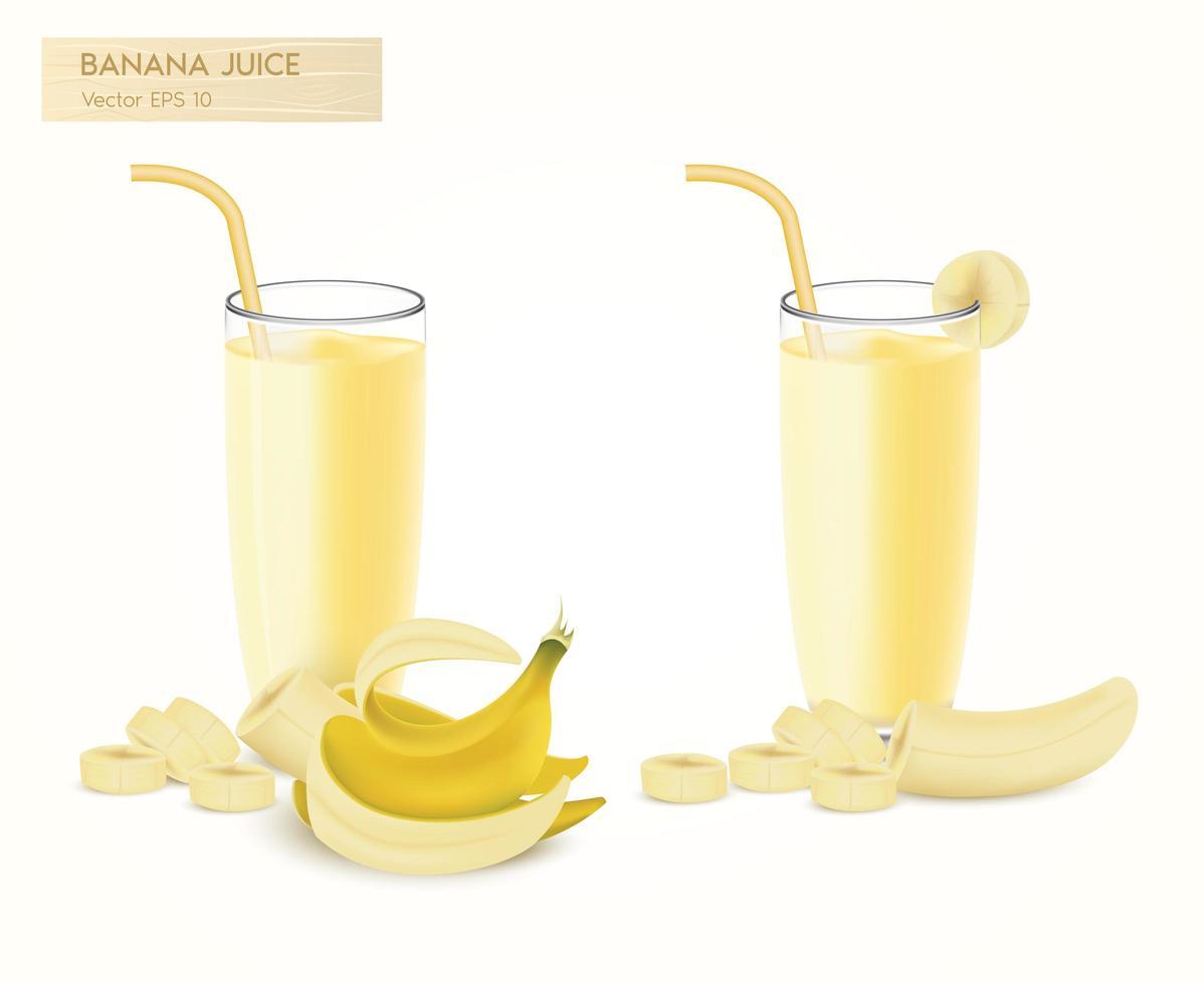 jugo de batido de plátano realista y conjunto de frutas vector
