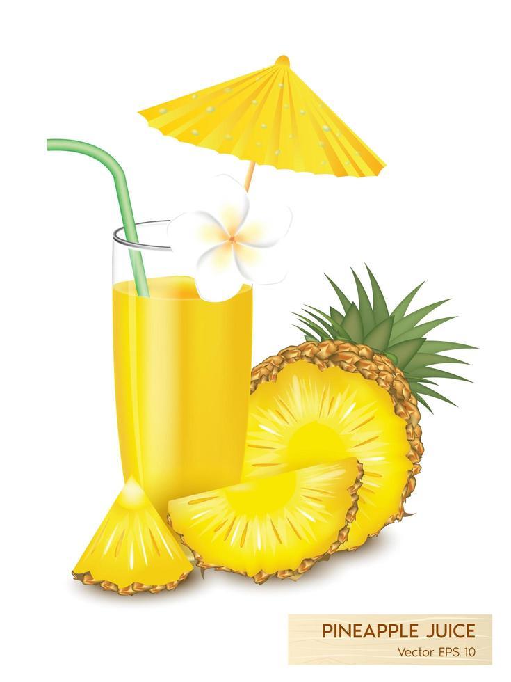 jugo de piña realista con rodajas de fruta vector