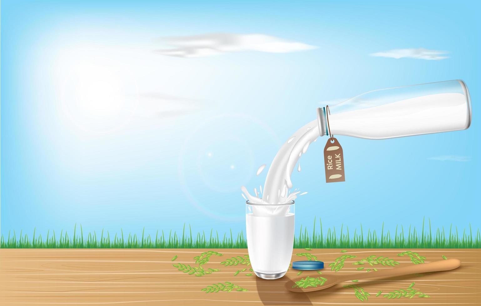 Banner realista con leche de arroz vertida. vector